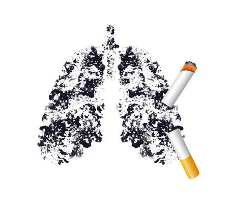 Stop smoking, Black lung concept. World no tobacco day. Smoking is harmful to human lung. Resulting in organ damage and premature. Illustration. Ilustração Vetorial