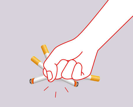 Human hands crushing cigarette. Quitting smoking concept.  World No Tobacco Day. Illustration isolated on gray background. Ilustracja