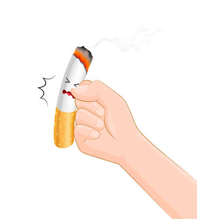 Human hands hits a cigarette. Quitting smoking concept.  World No Tobacco Day.  Vector illustration isolated on white background.