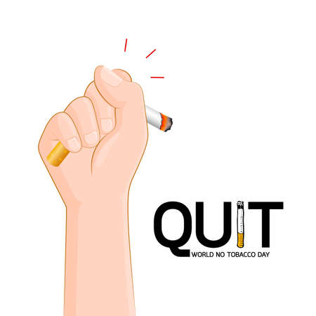 Human hand crushing cigarette. Quitting smoking concept.  World No Tobacco Day. Illustration isolated on white background.