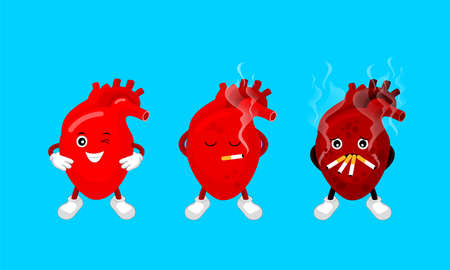 Cartoon human heart character smoking before and after. Smoking effect on human organ. Health care concept. Stop smoking, World No Tobacco Day. Illustration on blue background.