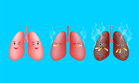 Cartoon human lung character smoking before and after. Smoking effect on human organ. Health care concept. Stop smoking, World No Tobacco Day. Illustration on blue background. Ilustracja