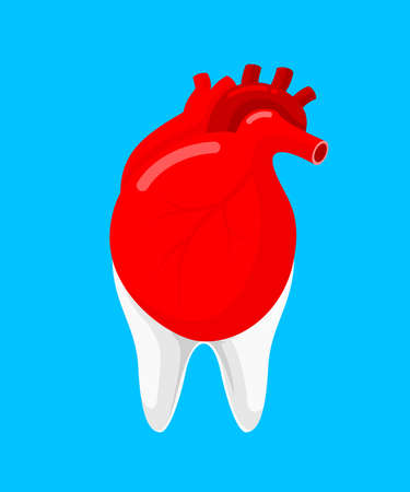 Human heart and tooth as a partner.  Icon design. Oral health and heart disease hygiene concept caused by dental plaque and gum disease due to mouth bacterial infection. Vector illustration isolated on blue background. Ilustracja