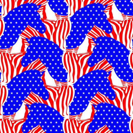 The American zebra. Abstract zebra in the form of a flag of the USA. Animal texture seamless pattern. 4th of July. Happy Independence Day. Illustration isolated on white background.