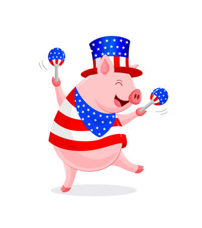 Funny cartoon pig characters with American costume and maracas.  4th of July. Happy Independence Day. Illustration isolated on white background.