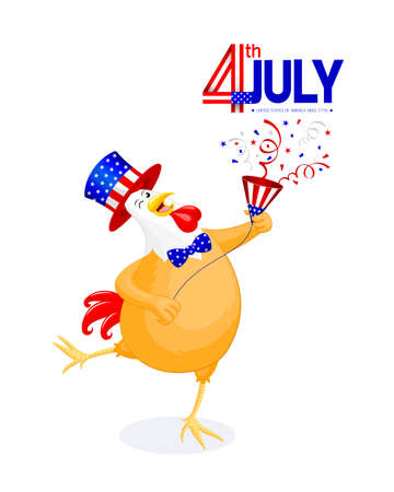 Cute cartoon chicken with American hat and paper shoot. concept for patriotism in America and celebration of independence day. The fourth of July for the United States. Illustration on white background.