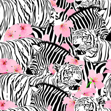 Tiger and zebra with cherry blossom seamless pattern. Wild animal texture. design trendy fabric texture,  illustration background.