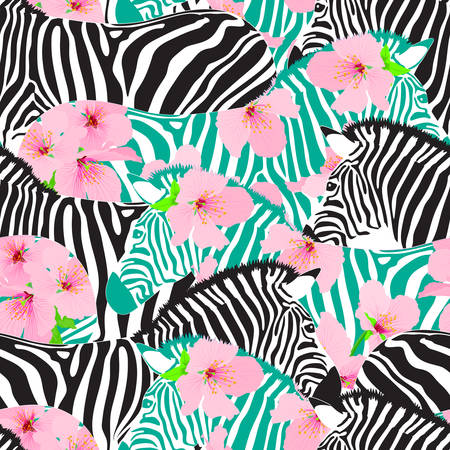 Zebra with cherry blossom seamless pattern. Wild animal texture. design trendy fabric texture,  illustration background.
