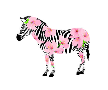 Abstract zebra with cherry blossom. Wild animal texture. design trendy fabric,  illustration background.