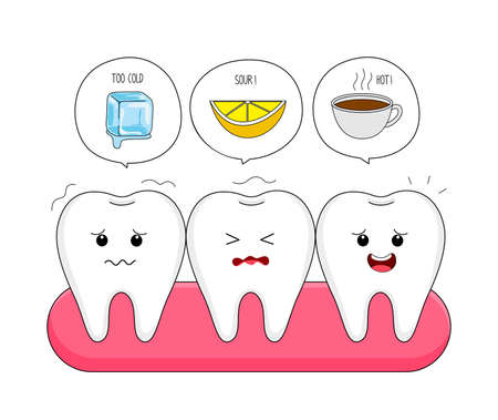 Cute cartoon sensitive teeth character with gum. Ice, Sour lemon and hot drinks. Dental care concept.  Illustration isolated  on white background. Ilustracja