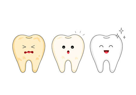 Tooth character whitening. Steps of yellow to white tooth. Dental care concept, illustration isolated on white background. Ilustracja