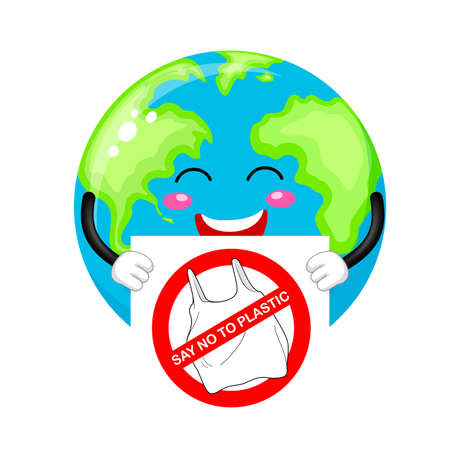 Cartoon globe character holding sign of say no to plastic. Global warming concept. Illustration isolated on white background.