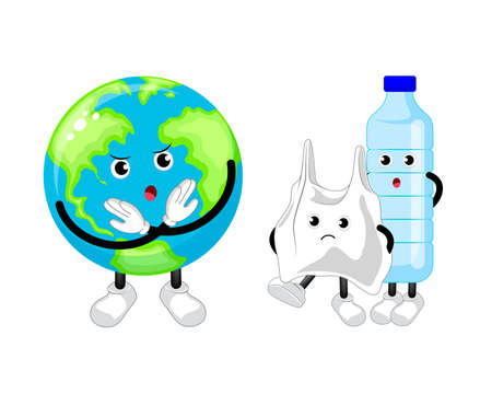 Cartoon globe character say no to plastic product. Global warming concept. Vector illustration isolated on white background.