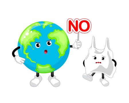 Cartoon globe character holding no sign. Say no to plastic. Global warming concept. Illustration isolated on white background. Ilustracja