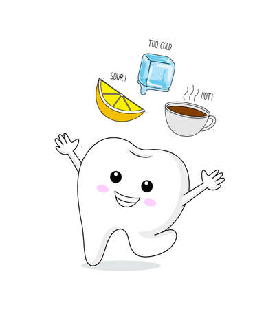 Healthy tooth to cold, sour and hot. Cute cartoon tooth character. Dental care concept, info-graphic of lemon, ice and hot drink.  Illustration isolated on white background.