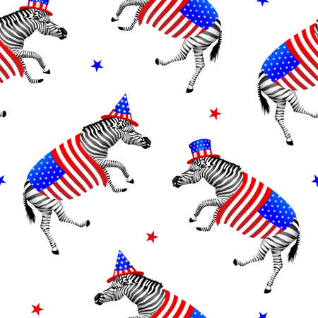 Dancing zebrawith American hat and cover, seamless pattern.  Wild animal texture design. 4th of July. Happy Independence Day. Illustration isolated on white background.