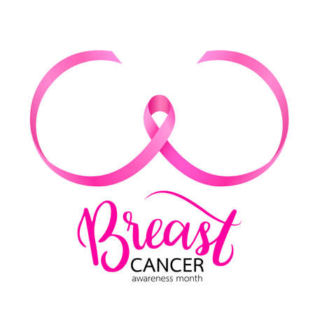 Pink ribbon curve in breast shape. Breast Cancer Awareness Month Campaign. Icon design. Vector illustration isolated on white background. Ilustracja