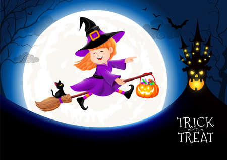 Flying little witch in moon nigh. Girl in Halloween costume. Halloween cartoon character design. Illustration.