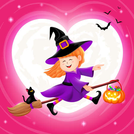 Flying little witch with moon in heart shape. Girl in Halloween costume. Halloween cartoon character design. Illustration on pink background. Ilustracja