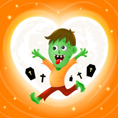 Happy zombie with moon in heart shape. Halloween cartoon character design. Illustration on orange background. Ilustracja