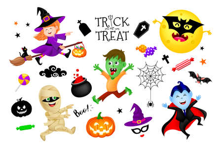 Halloween cartoon set with cute kids in holiday costumes: witch, count Dracula, zombie and mummy. Illustration isolated on white background. Halloween poster with text Trick or treat. Ilustracja