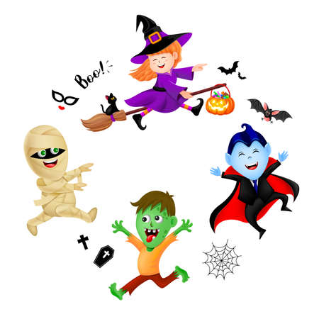 Halloween cartoon set with cute kids in holiday costumes: witch, count dracula, zombie and mummy. Illustration isolated on white backgeound. Design for poster, banner and greeting card.