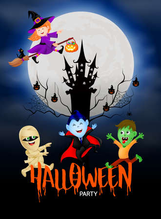 Funny cute cartoon character. witch, count Dracula, zombie and mummy in moon night. happy Halloween concept. Design for banner, poster, greeting card. Illustration.