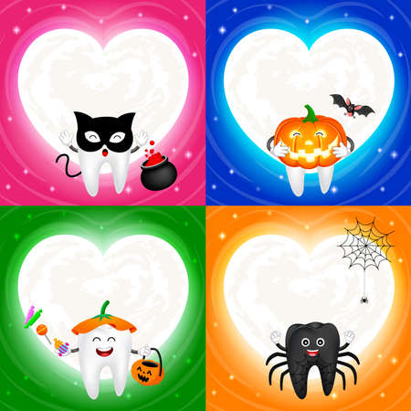 Four halloween cartoon tooth set with moon in heart shape. Black cat, pumpkin, cute tooth and spider. Illustration isolated on white background. Design for poster, banner and greeting card.