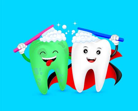 Personaje de diente de dibujos animados de Halloween cepillándose juntos. Conde Drácula y zombi. Feliz concepto de Halloween. Ilustración sobre fondo azul.