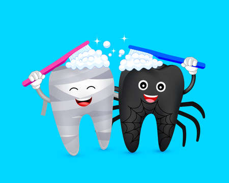 Halloween cartoon tooth character  brushing together. Mummy and spider. Happy Halloween concept. Illustration on blue background.