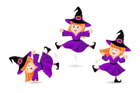 Cute little  witch three acts. Halloween characters design. Happy Halloween concept. Illustration isolated on white background.