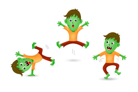 Cute zombie three acts. Halloween characters design. Happy Halloween concept. Illustration isolated on white background.