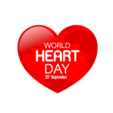 Globe in heart shape. World heart day in red heart. Health care concept. Illustration isolated on white background.