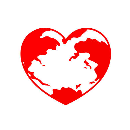 Globe in heart shape. World heart day. Health care concept. Icon design. Illustration isolated on white background. Çizim