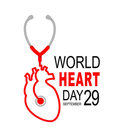 Stethoscope in human heart shape. Heart checking, World heart day concept. Illustration isolated on white background.