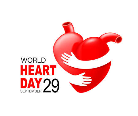 Red heart with hand embrace. Human organ icon design. Health care concept. World heart day. Illustration isolated on white background. Ilustração