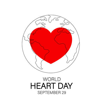 Red heart in globe line art. World heart day. Health care concept. Icon design. Illustration isolated on white background.