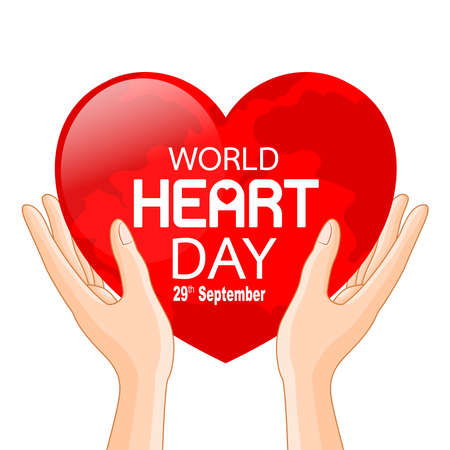 Human hands with globe in heart shape. World heart day in red heart. Health care concept. Illustration isolated on white background. Çizim