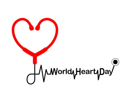 Stethoscope in heart shape. Heart checking, World heart day concept. Illustration isolated on white background.