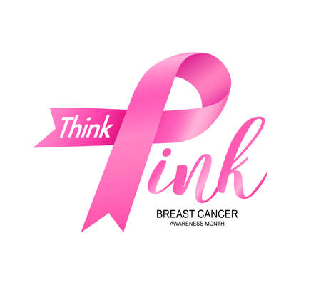 Breast Cancer Awareness Month Campaign design with pink ribbon. Think pink, icon design. Vector illustration isolated on white background. Ilustracja
