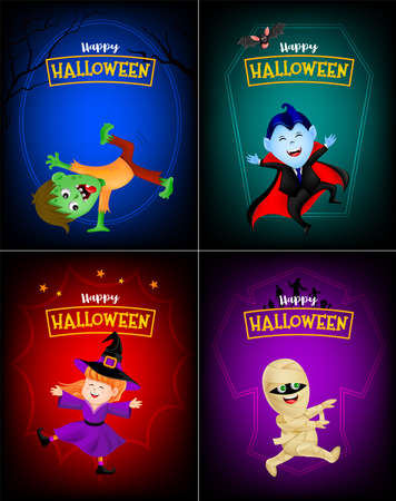 Halloween cartoon set. Cute kids in holiday costumes: witch, count dracula, zombie and mummy. Happy halloween concept. Illustration in colorful background. Standard-Bild - 131812649