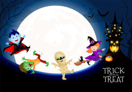 Halloween cartoon character set in moon night. witch, count dracula, zombie and mummy.  Happy halloween concept. Illustration for banner, poster, greeting card, digital design. Standard-Bild - 131812706