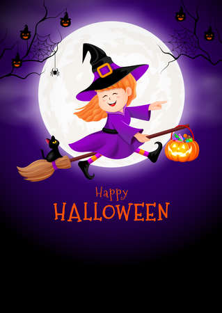 Flying little witch in moon night. Girl in Halloween costume. Halloween cartoon character design. Happy halloween concept. Illustration for banner, poster, greeting card, digital design.