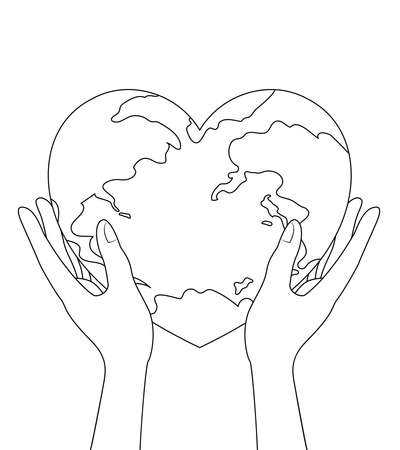 Human hands with globe in heart shape. World heart day. Health care concept. Illustration isolated on white background.