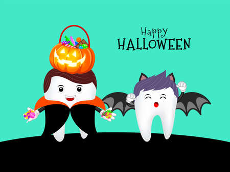 Family cute cartoon tooth character as Dracula and bat. Happy Halloween concept. Design for banner, poster, greeting card. Illustration. Vettoriali