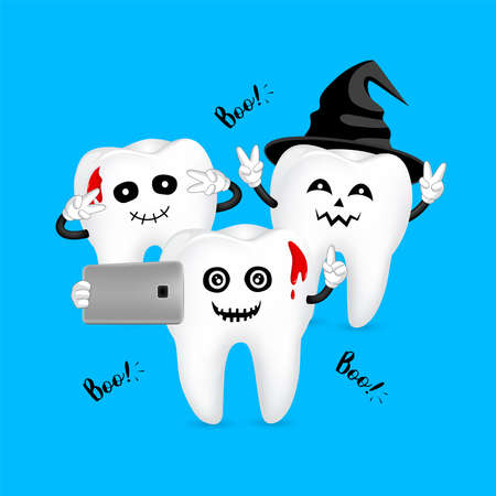 Funny cartoon Halloween tooth character taking selfie. take a photo with mobile phone. Dental care concept. Illustration isolated on blue background. Illustration