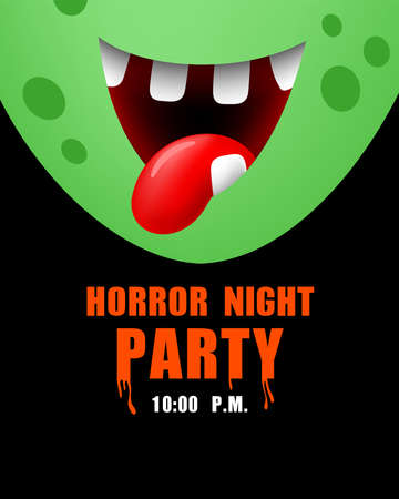 Zombie mouth. Horror night party, halloween concept. Illustration for invitation card, poster, banner.