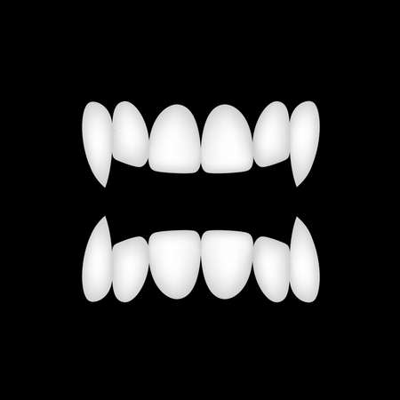 Vampires teeth icon. Illustration isolated on black background. Vector art. Happy halloween concept. Çizim