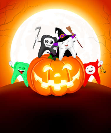 Halloween cartoon tooth set sitting on pumpkin. Cute tooth in holiday costumes: witch, skull, zombie and devil. Illustration in moonlight background.