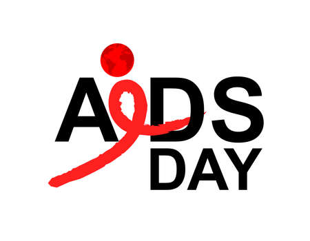AIDS with red ribbon in brush style. World AIDS Day. Aids Awareness icon design for poster, banner, t-shirt. illustration isolated on white background.